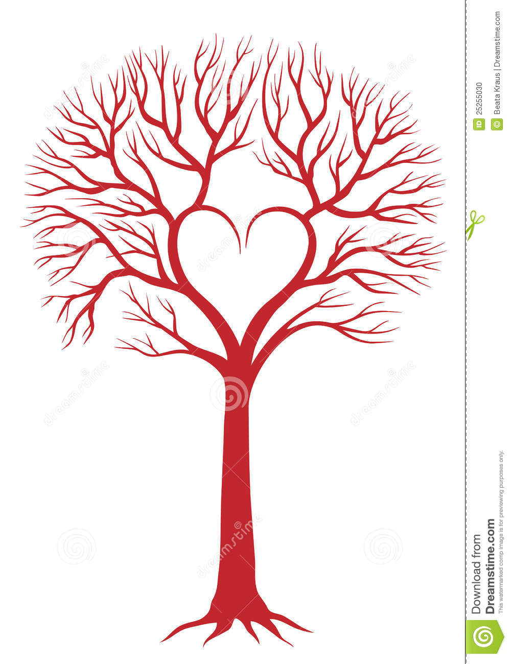 Red love tree with heart shaped branches, vector background.