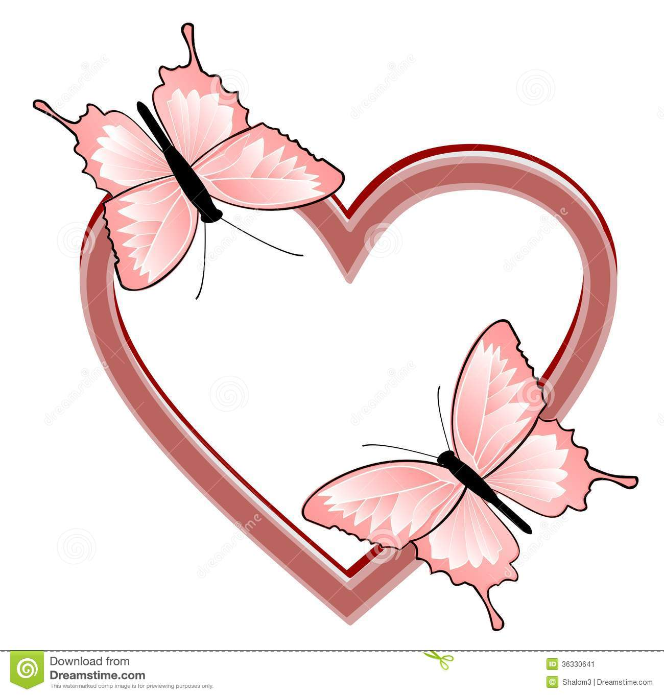 ... and two butterflies - a symbol of love, Valentines day or wedding