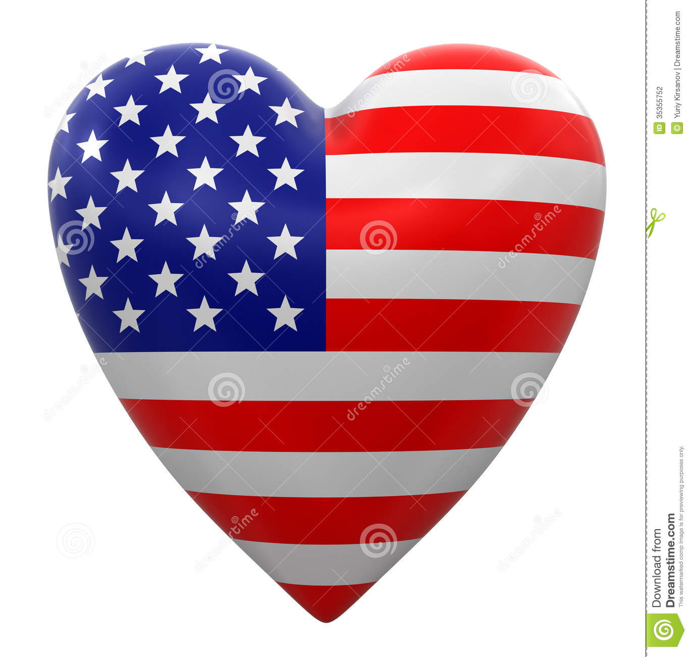 heart with usa flag clipping path included stock illustration