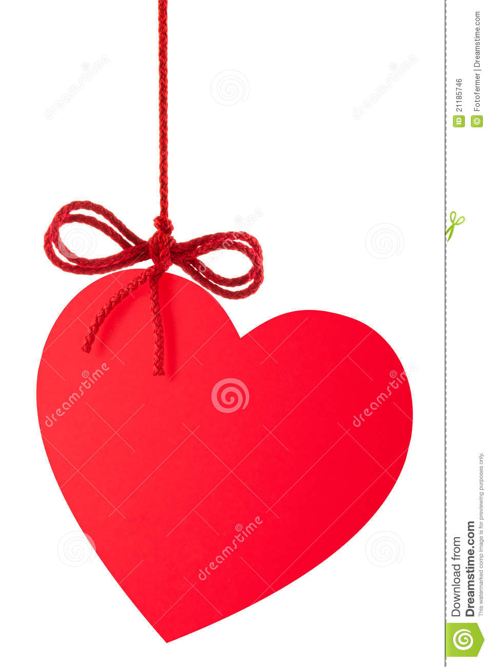 Heart-Valentine with a bow hanging on a rope