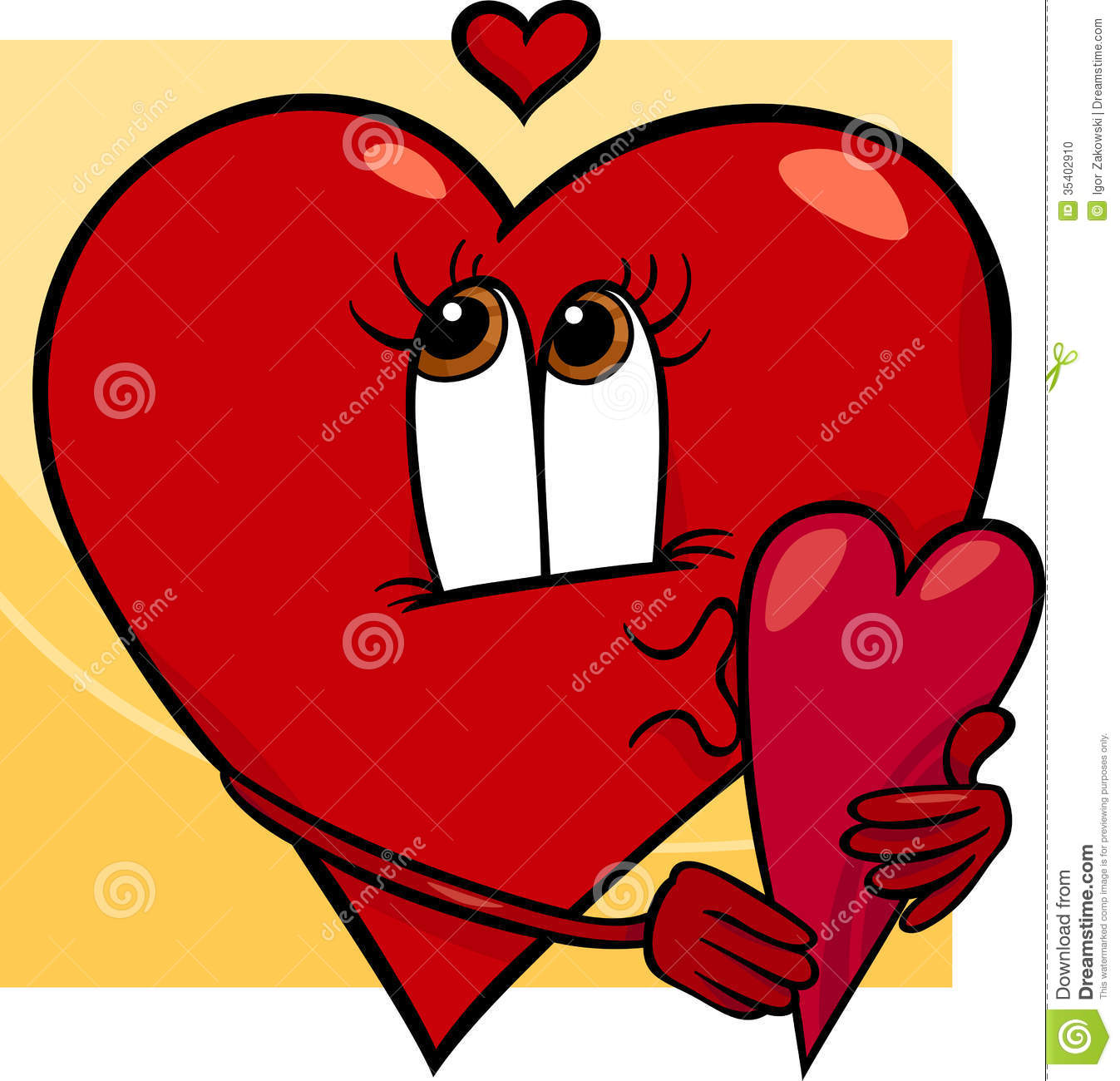 Cartoon Characters Valentines Day : Heart with valentine card cartoon stock photo image