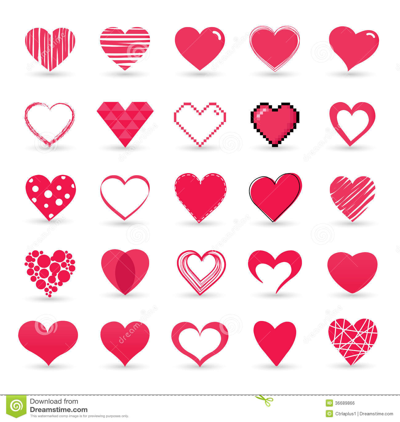 Heart valentine icon set
