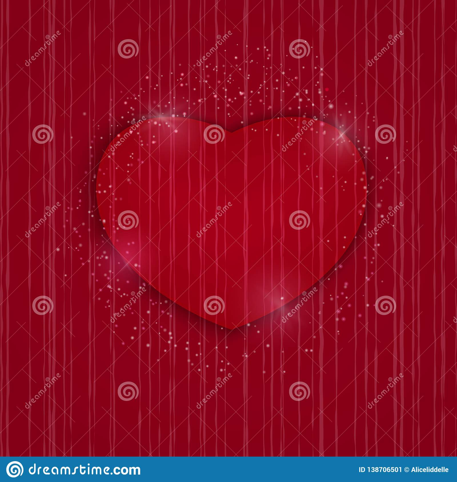 Heart Valentines Day Card On Red Background Wedding Invitation Card