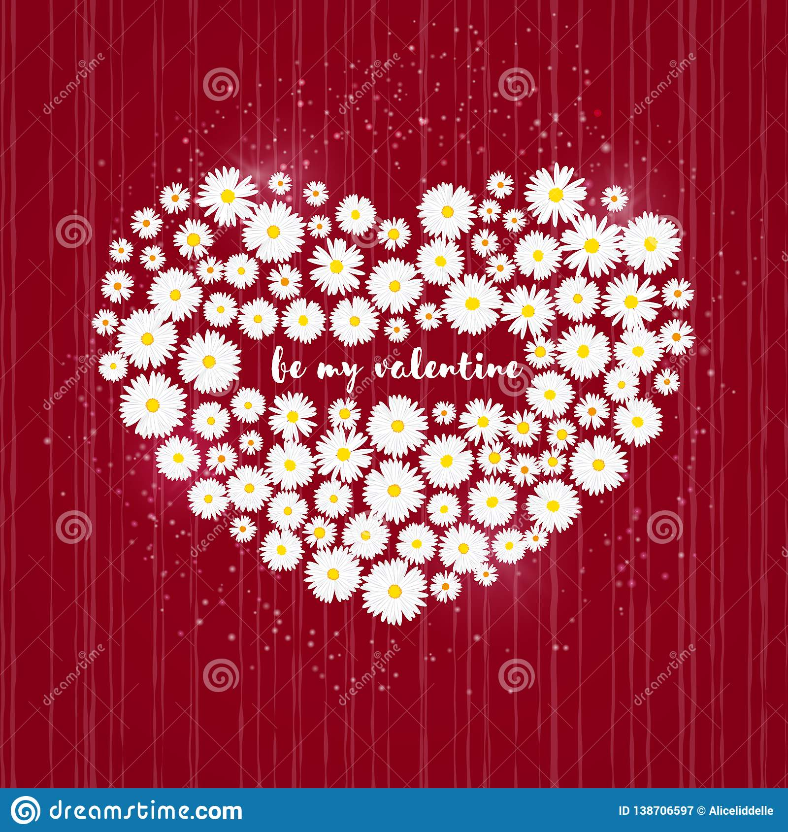 Heart Valentines Day Card White Daisies On Red Background Wedding