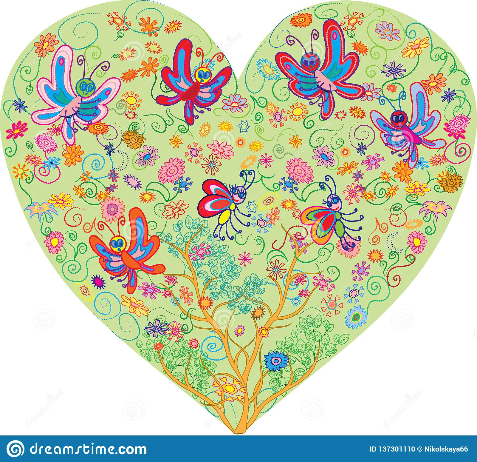 Hearts vector with flowers and butterflies