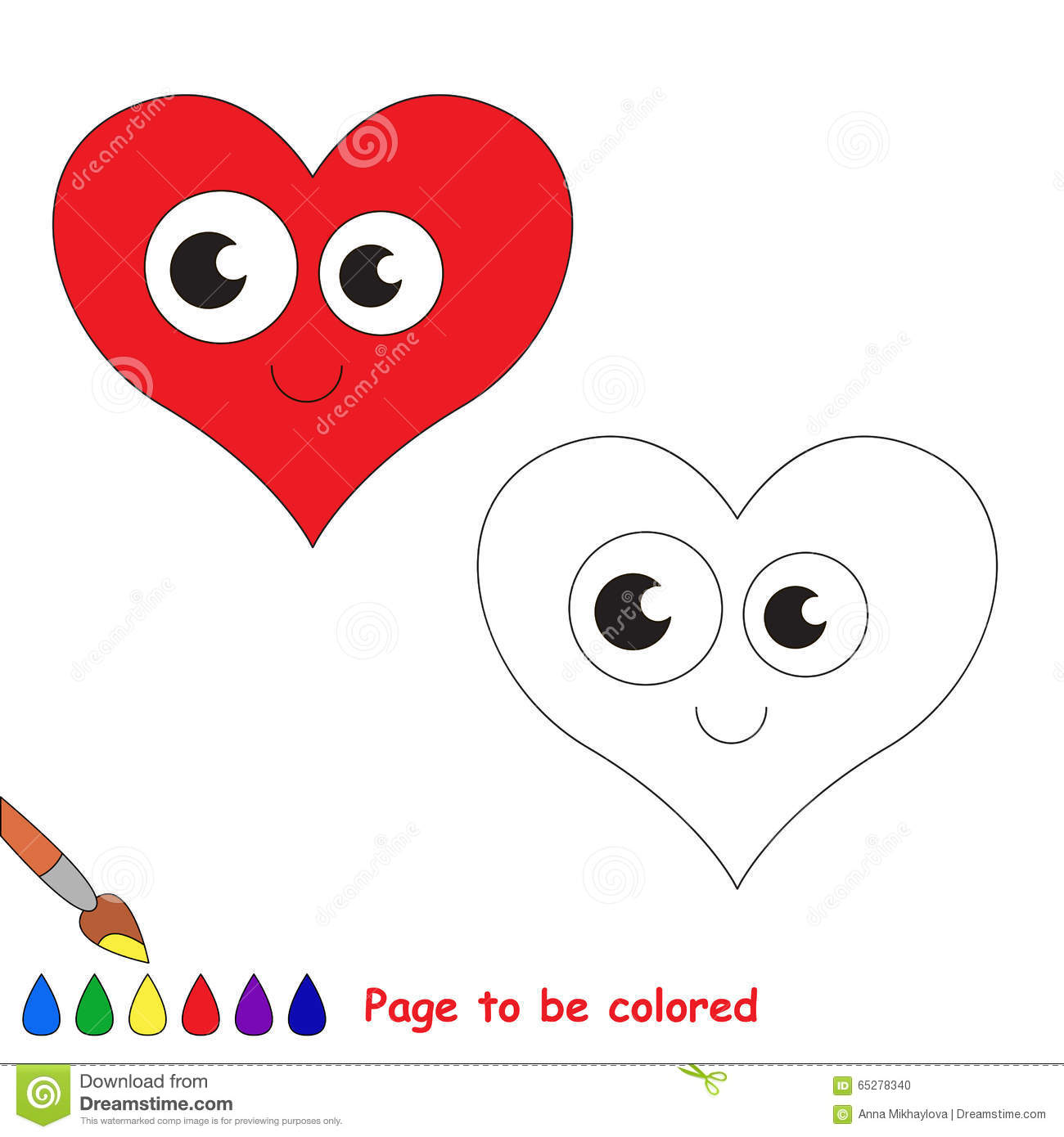 Heart in vector cartoon to be colored.