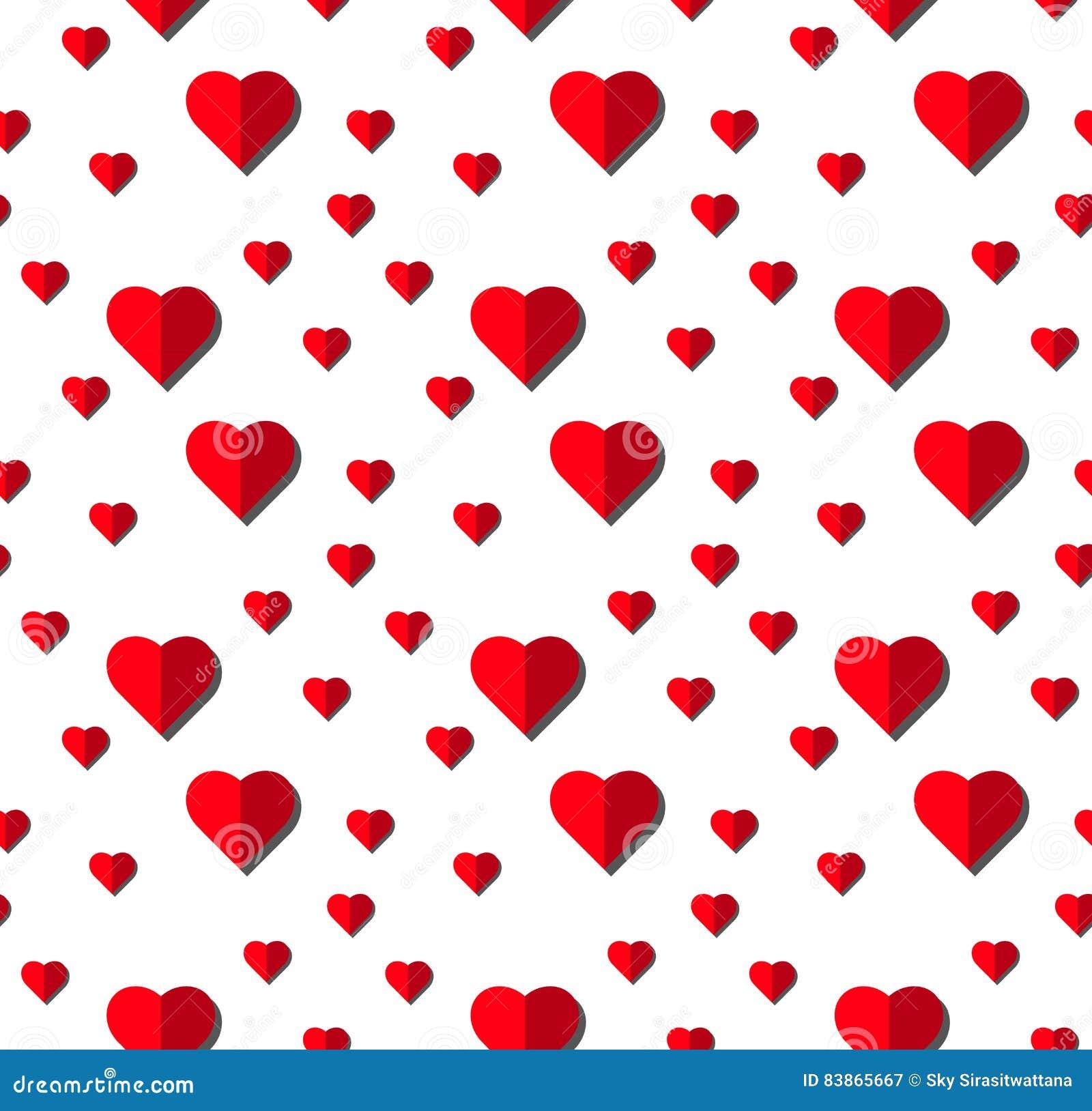 Heart Vector Seamless Pattern On White Background, Illustration ...