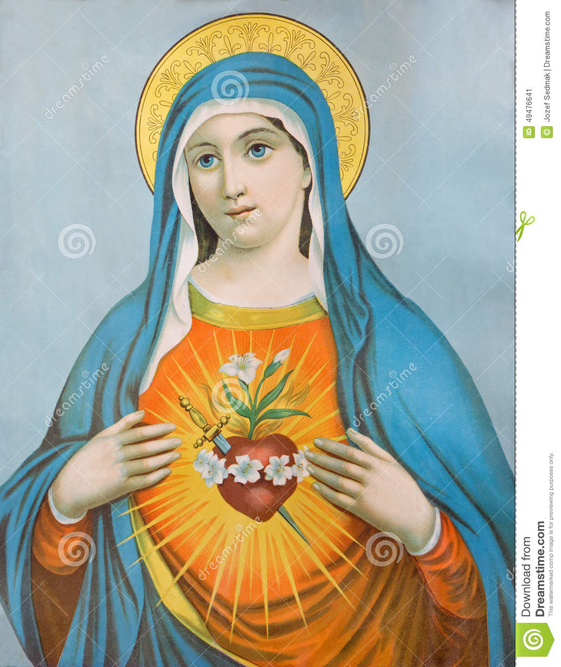 The Heart Of Virgin Mary. Typical Catholic Image (in My