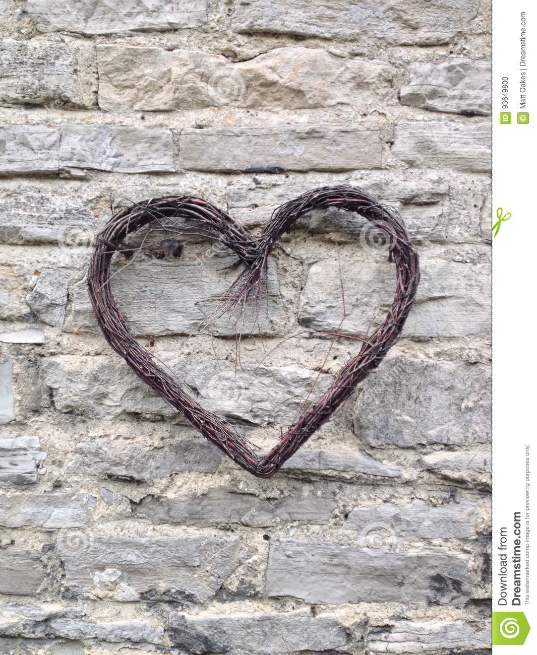 The heart on the wall  stock photo  Image of romance - 93649800