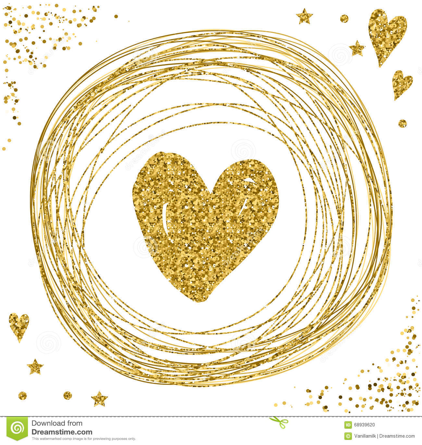 Heart On White. Gold Glitter Texture. Stock Vector - Illustration of ...