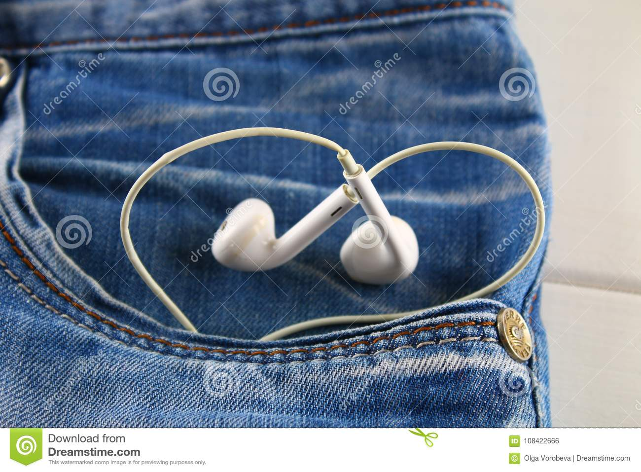Heart Of White Headphones A Symbol Of Love Peeps Out Of The Pocket
