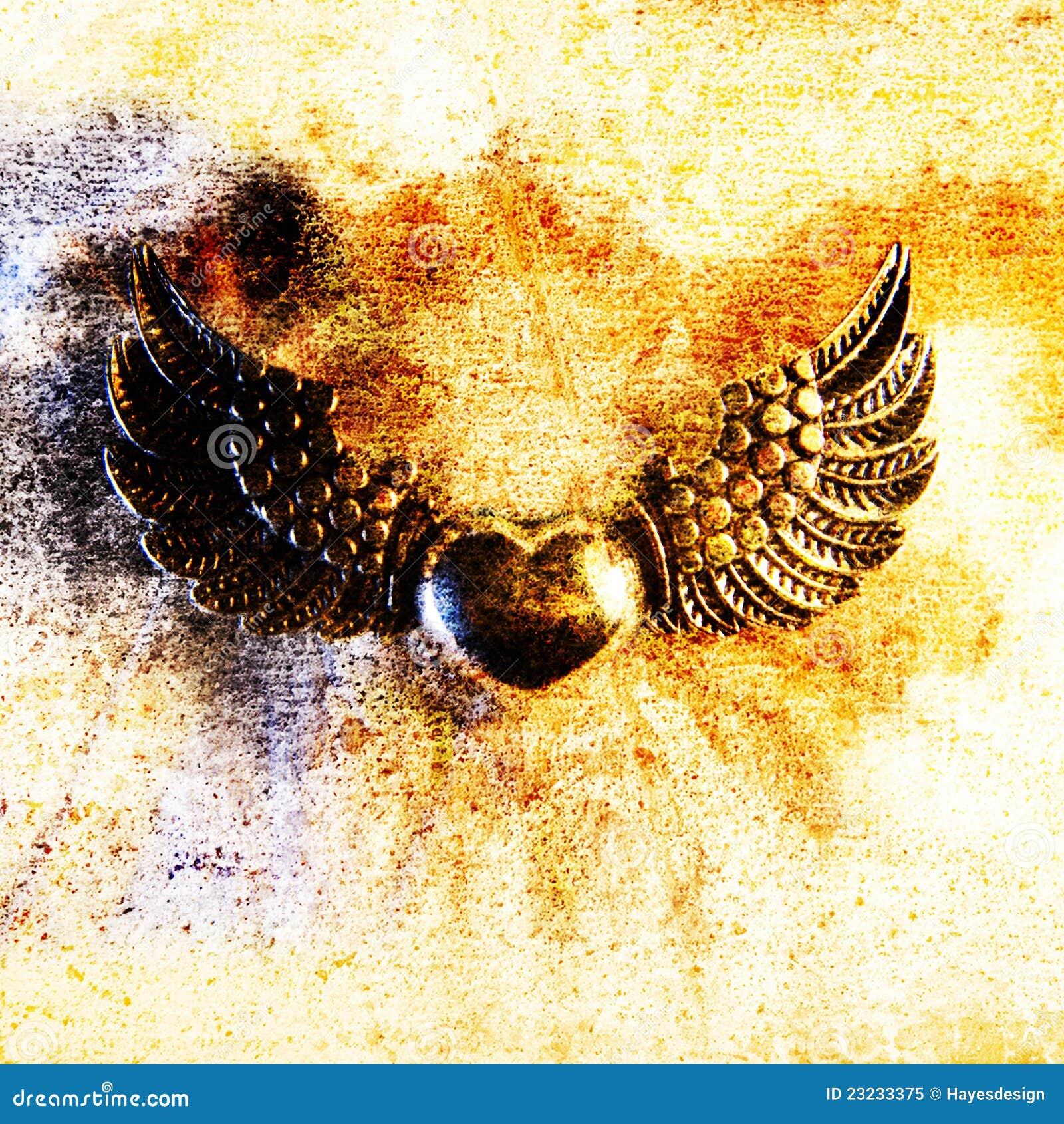 Heart and Wings  Metal Motif, Close-up