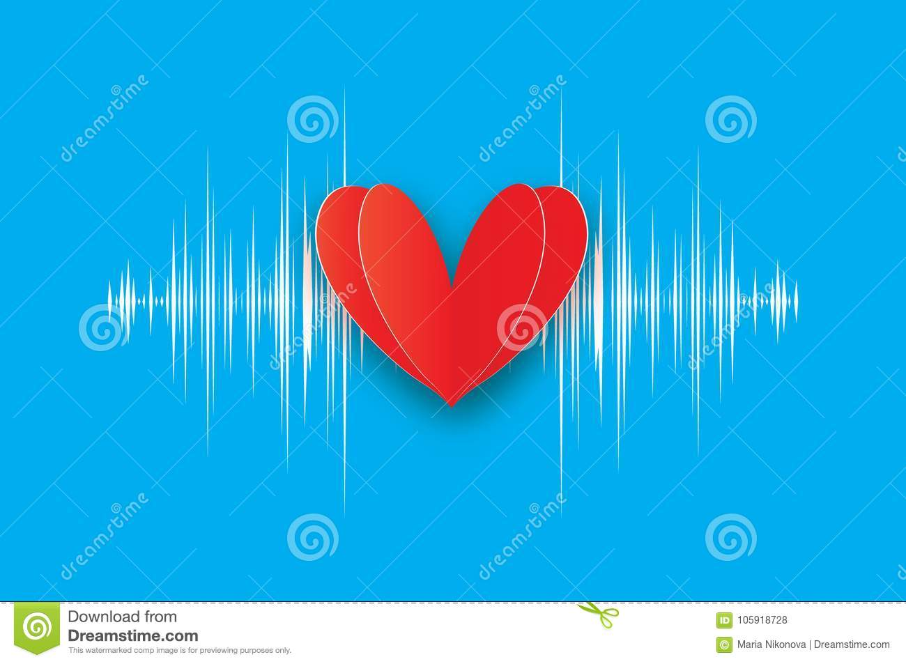 Heartbeat. Happy Valentine`s Day. Red Heart In Paper Cut Style ...