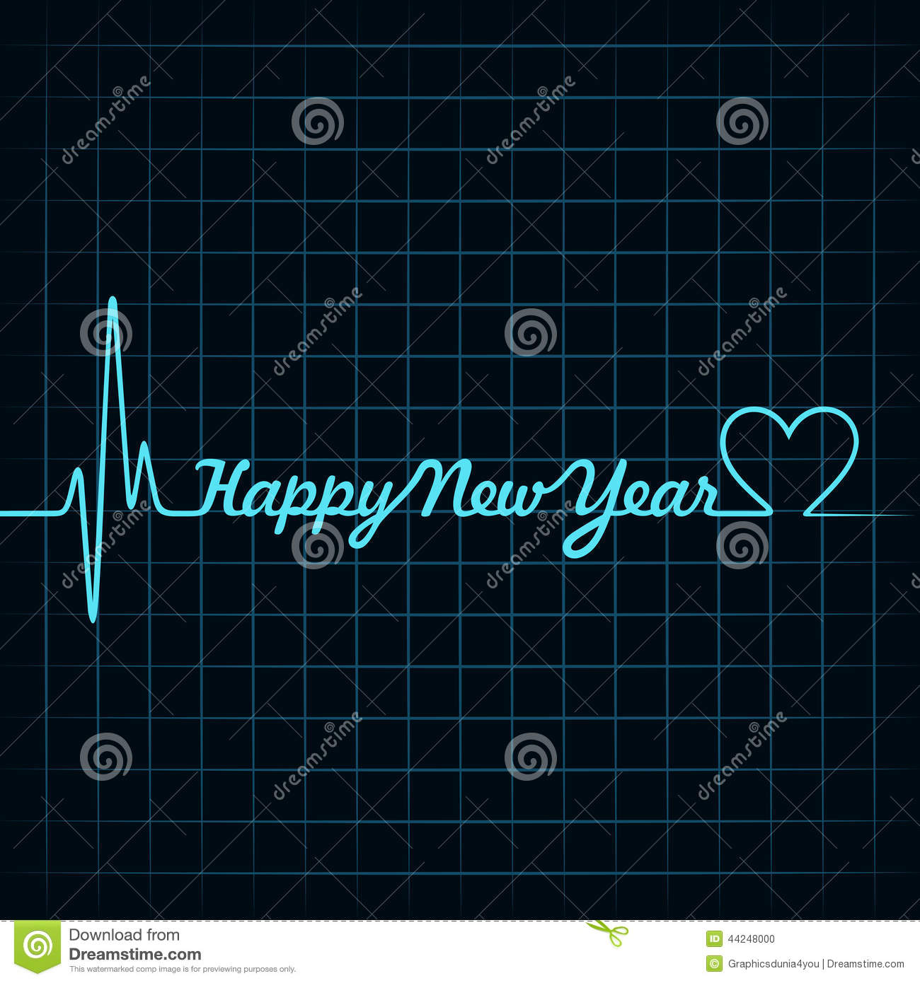 heartbeat make happy new year text and heart symbol