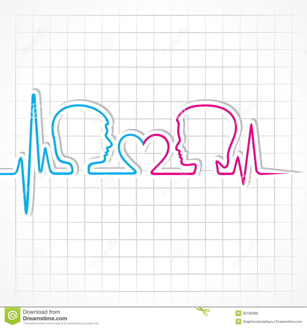 Heartbeat Make Malefemale Face And Heart Symbol Stock Vector