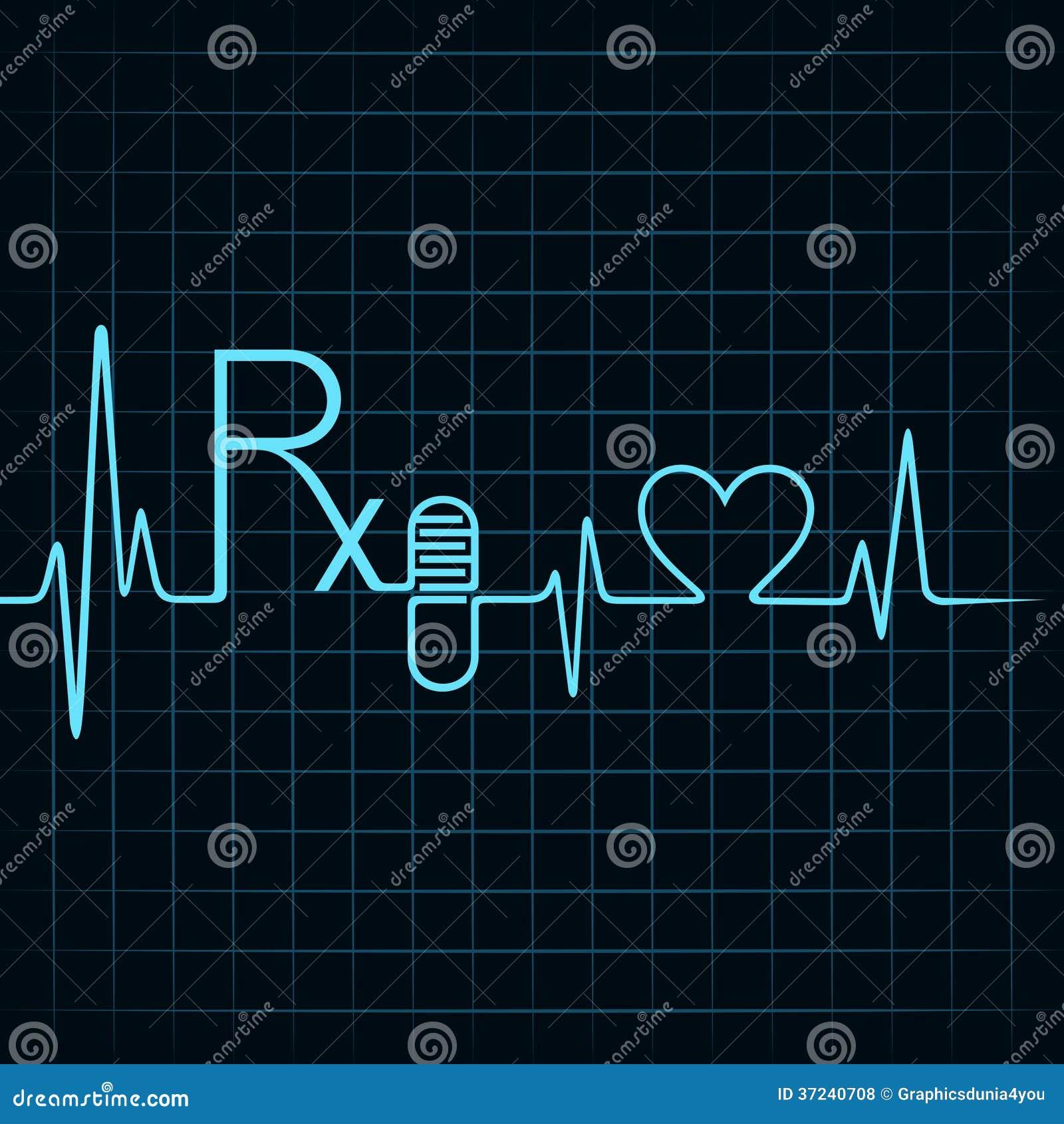 Heartbeat Make Rx Text Capsule Heart Symbol Stock Vector Rhythm Illustrations Royalty Free