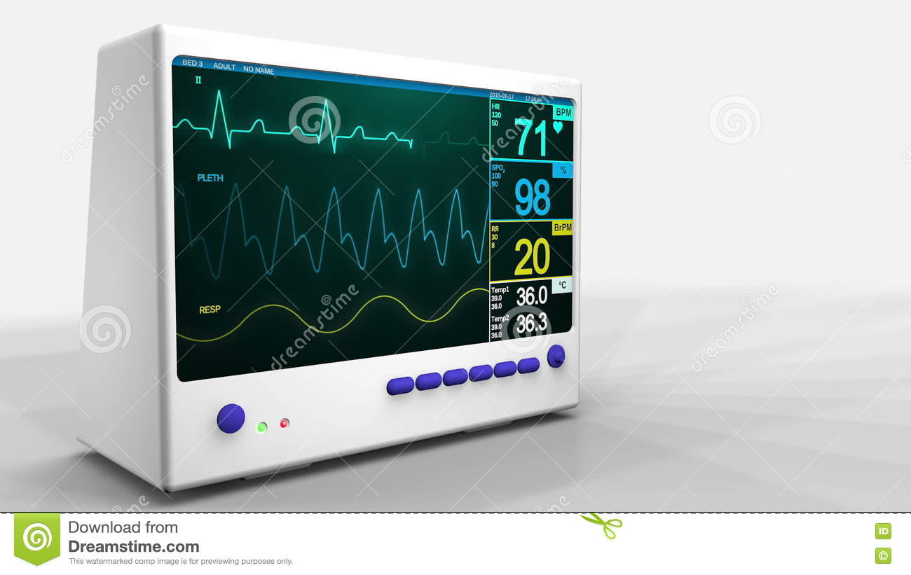 Heartbeat monitor screen animation 3D
