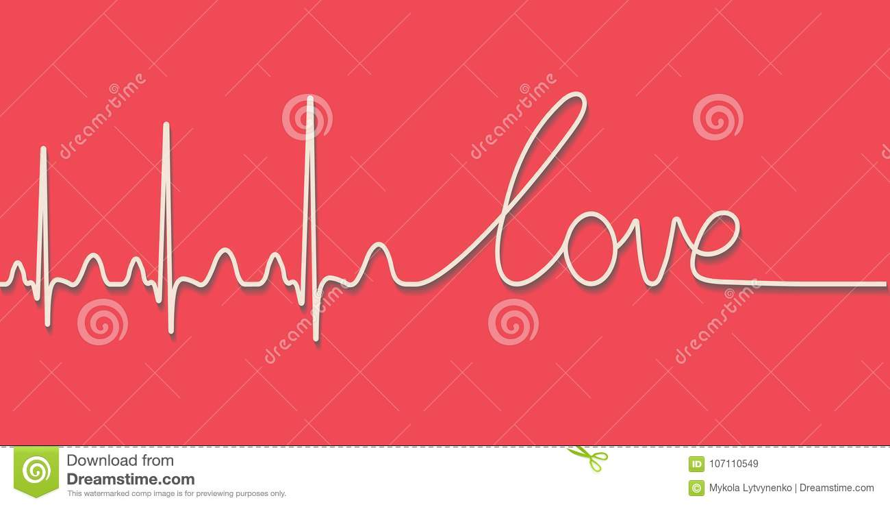 Heartbeat Pulse Text The Word Love Hand Drawn Calligraphic Line