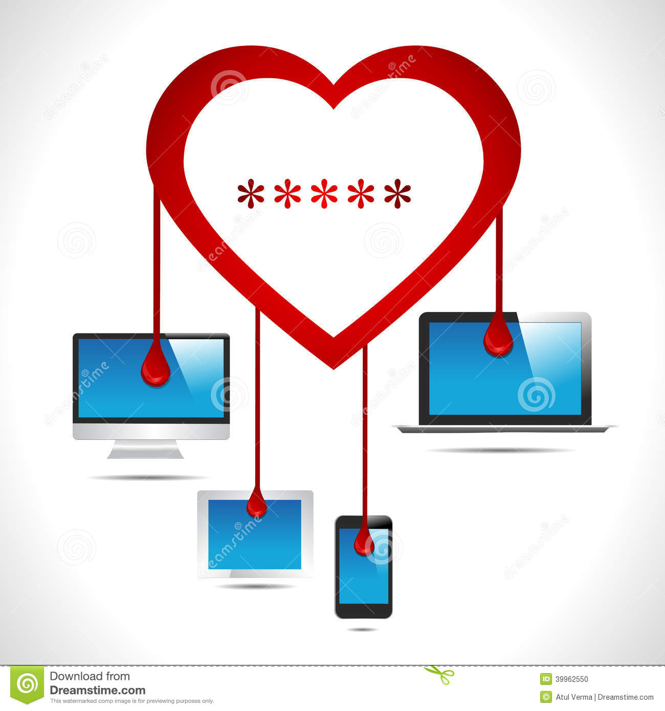 Heartbleed en illustration vectorielle noir et blanc