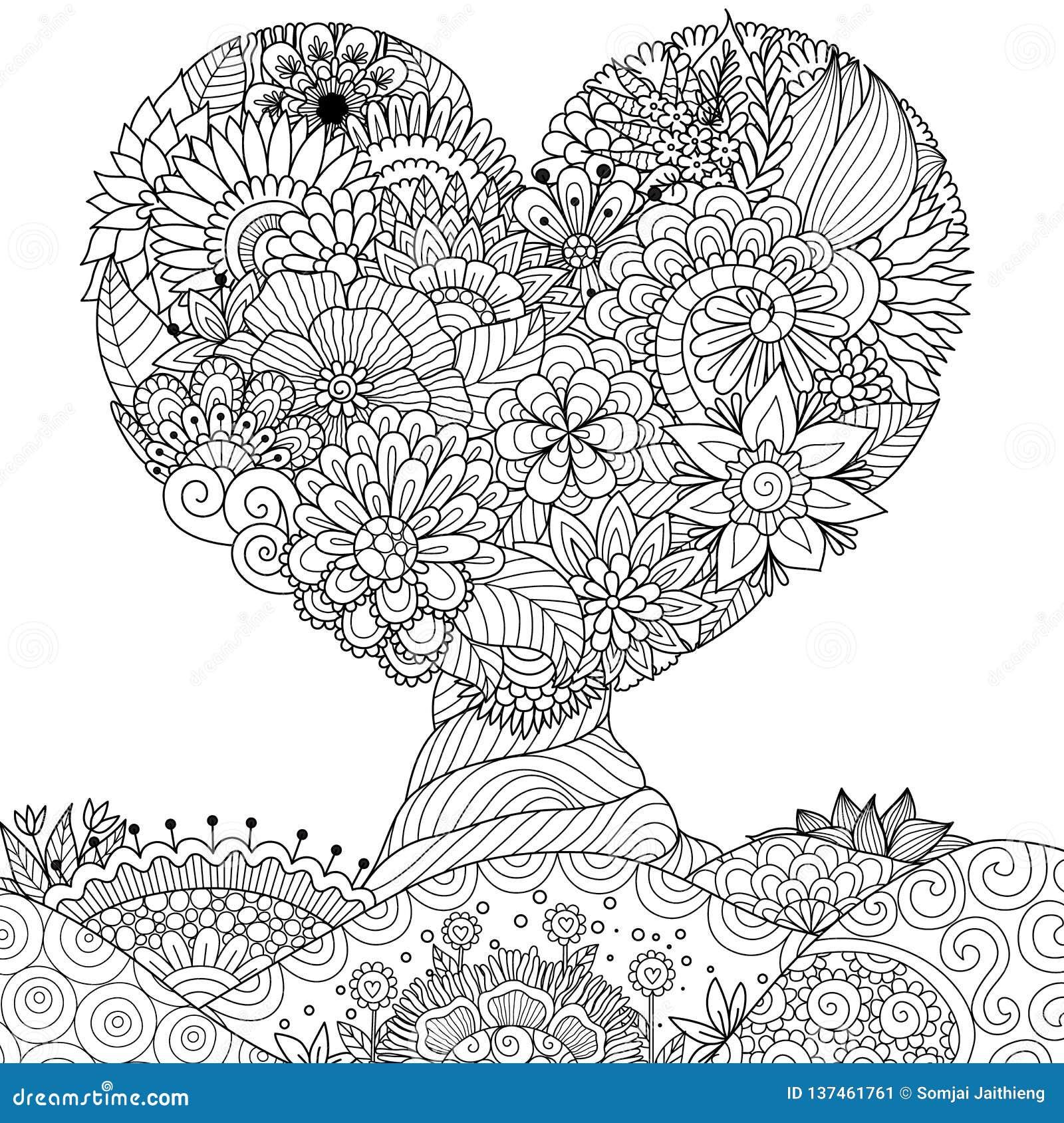 Hearted kształta drzewo dla koronki, walentynki grępluje, ścienny majcher, kolorystyki książka, kolorystyki strona i inny, projek