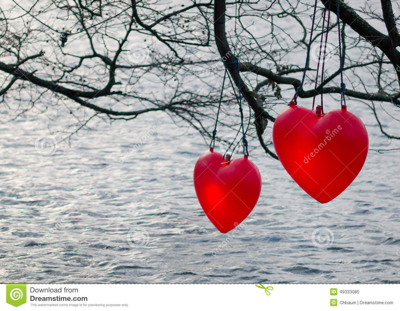 Hearts in the water