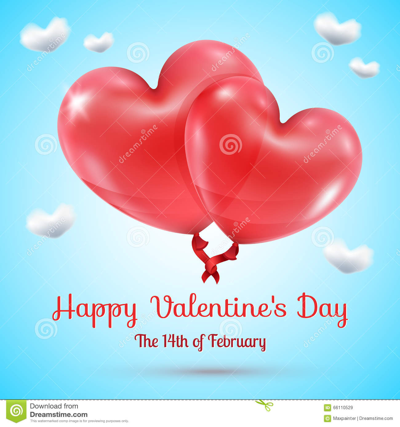 Hearts Balloons With Valentines Day Text Stock Vector ...