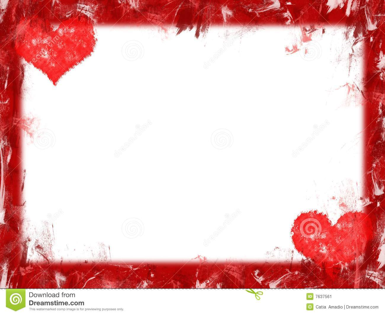 Grunge red hearts frame over white background.