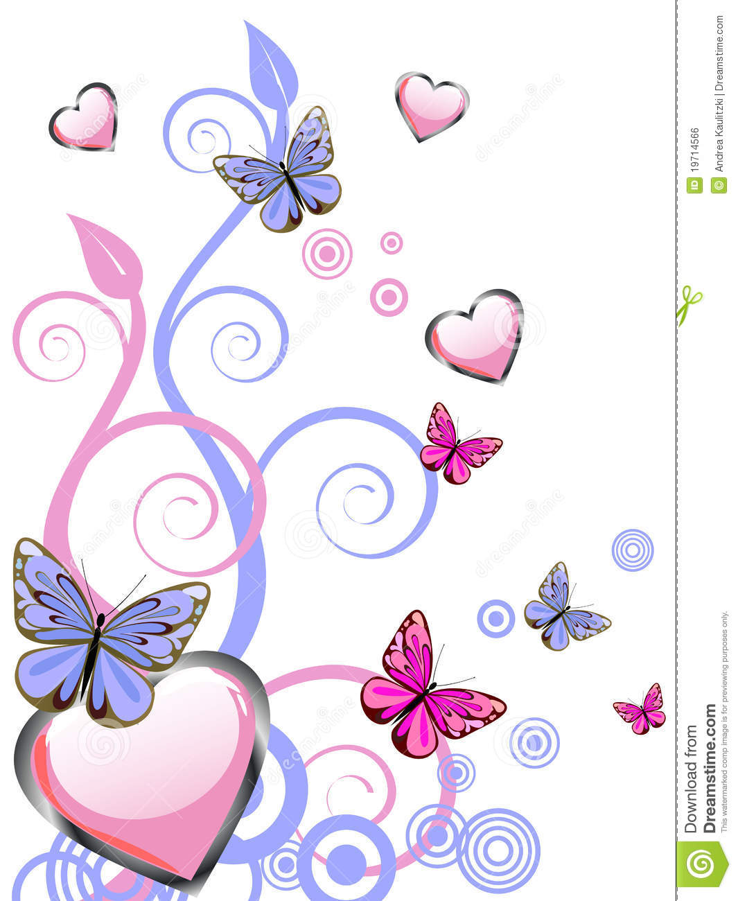 ... of pink hearts and colorful butterflies on a floral background