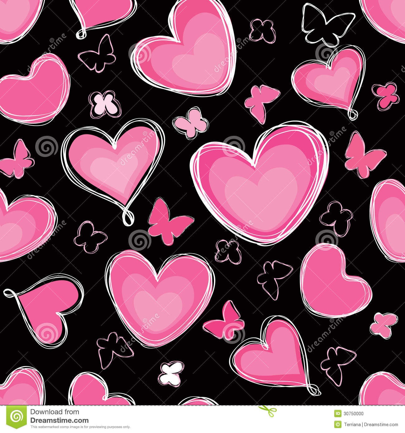 Hearts And Butterfly Seamless Background Paintbrus Stock