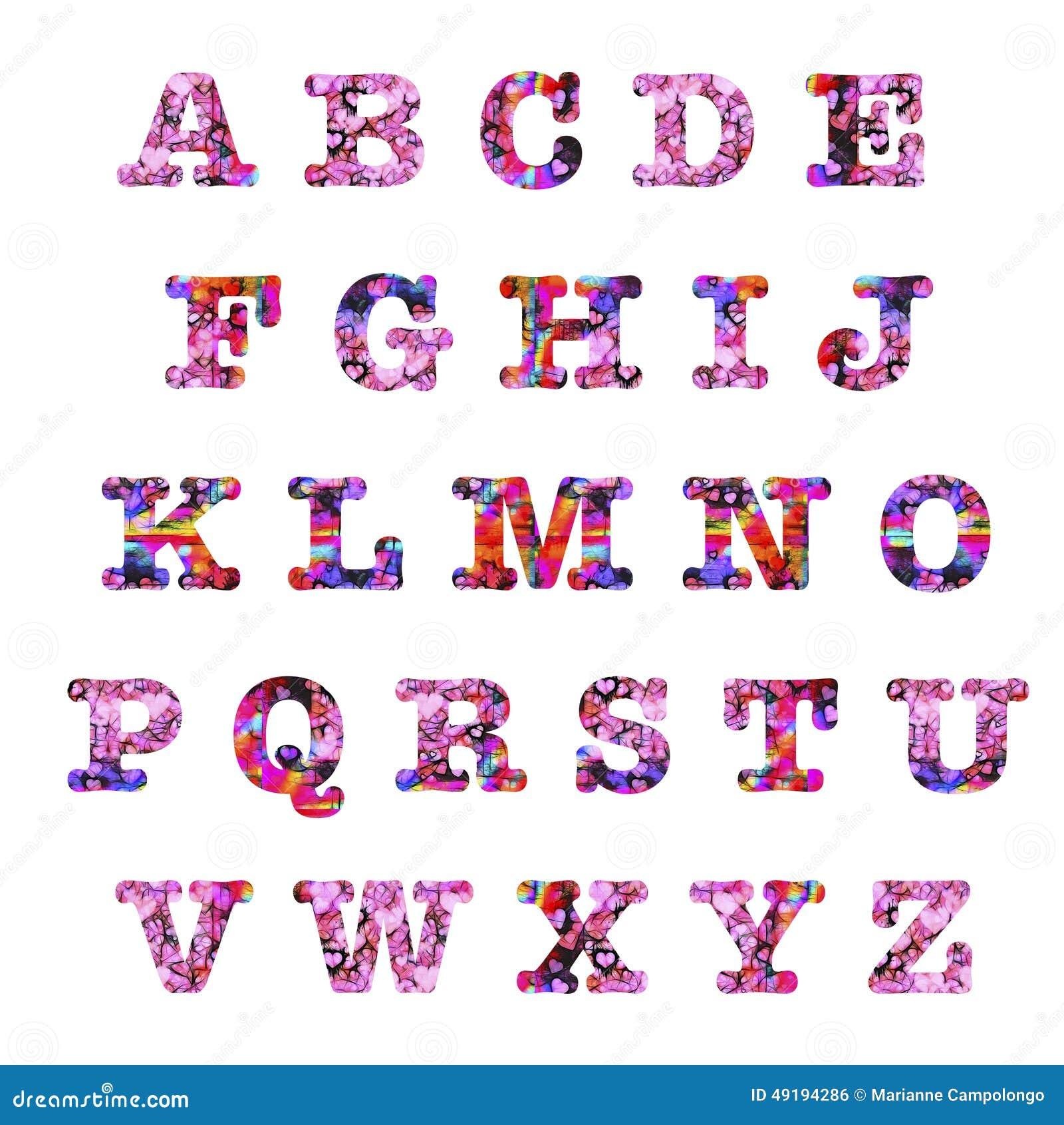 Hearts Capital Letters Alphabet
