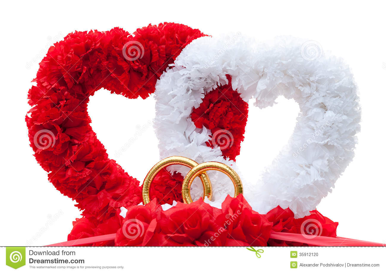 Hearts car wed decoration isolated stock photo image for Heart decoration ideas