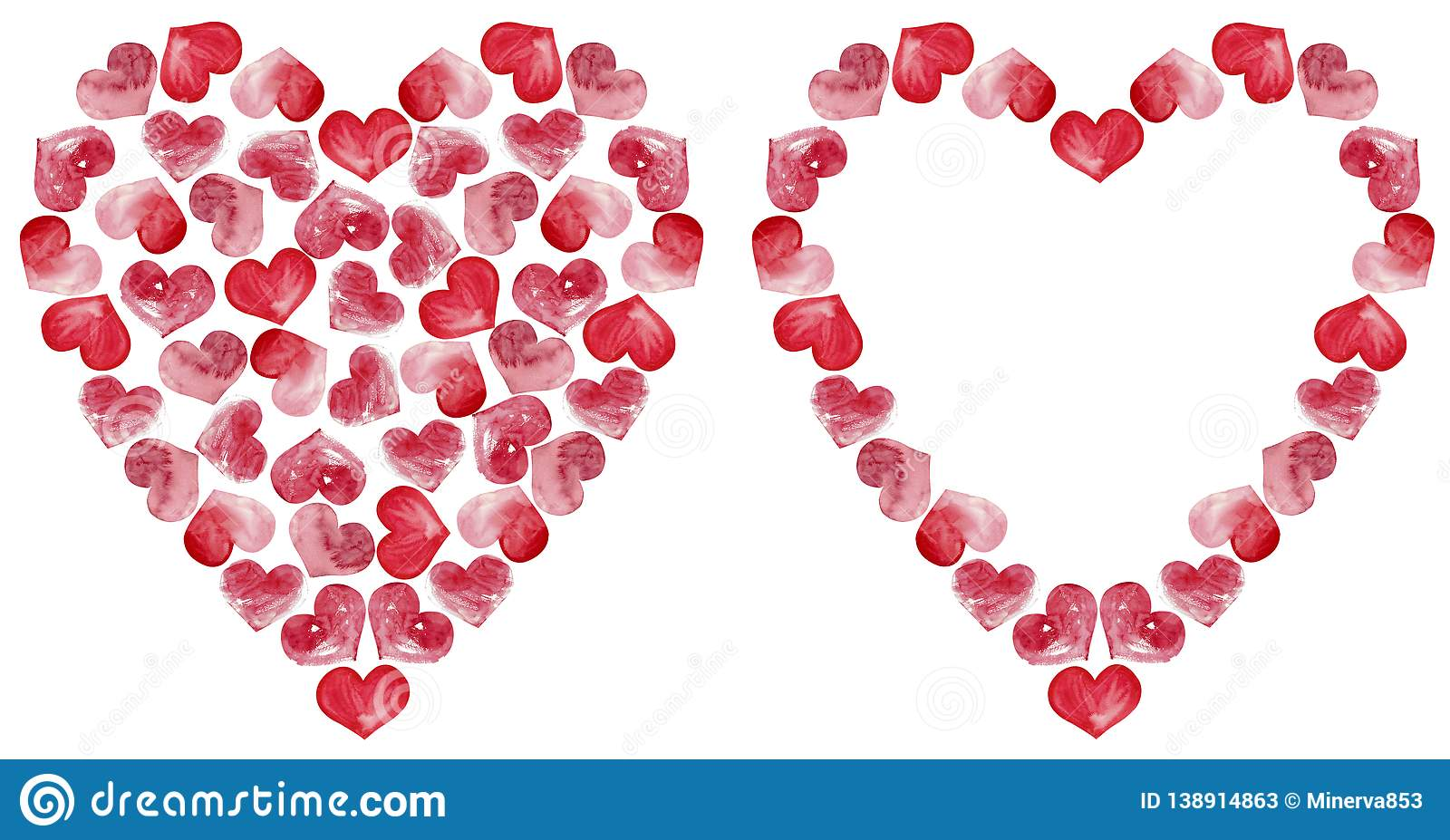 Hearts clipart. Valentine`s day frame. Watercolor pink hearts. Strawberry like.