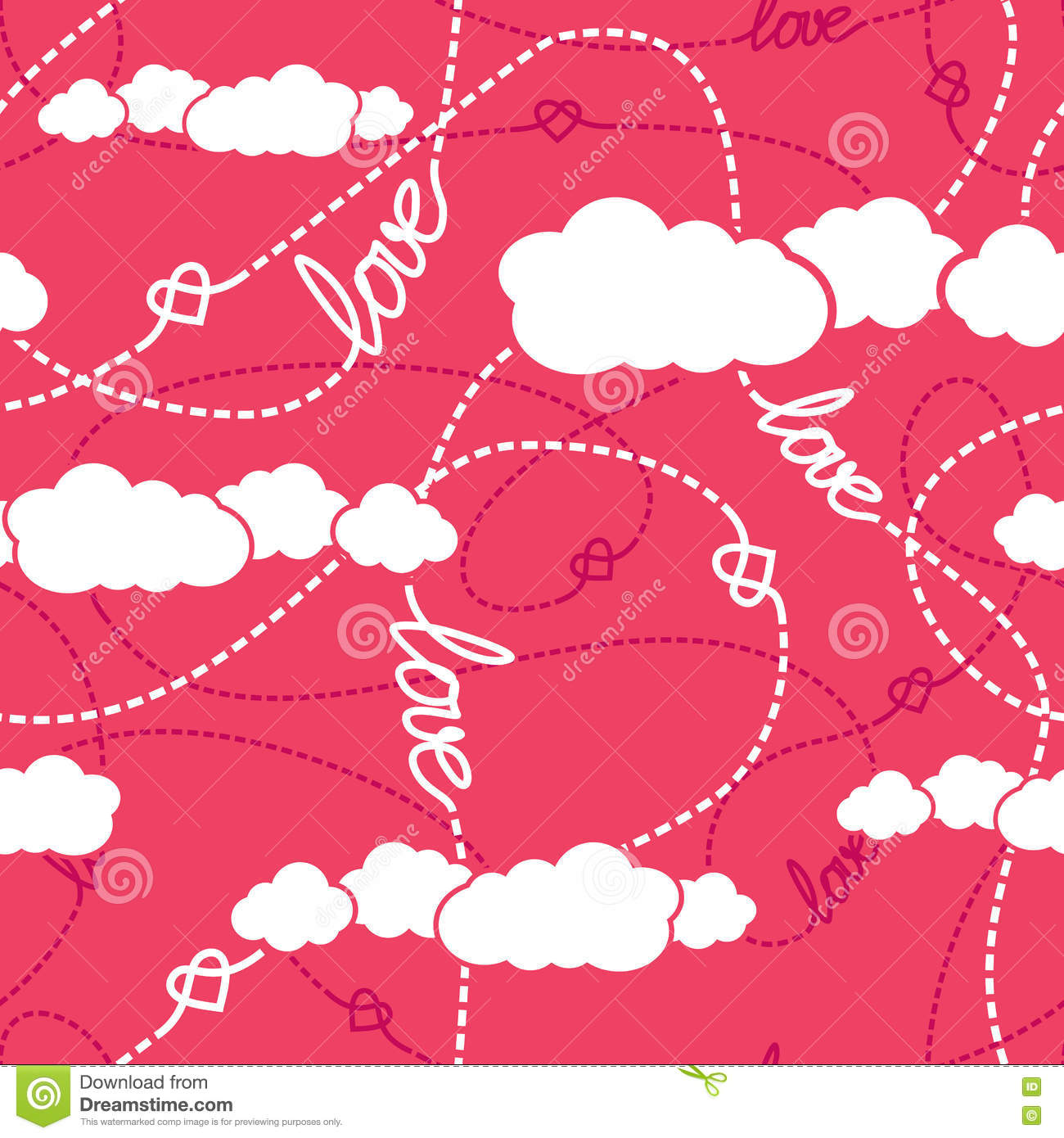 Hearts Clouds Love Seamless Pattern Vector Illustration