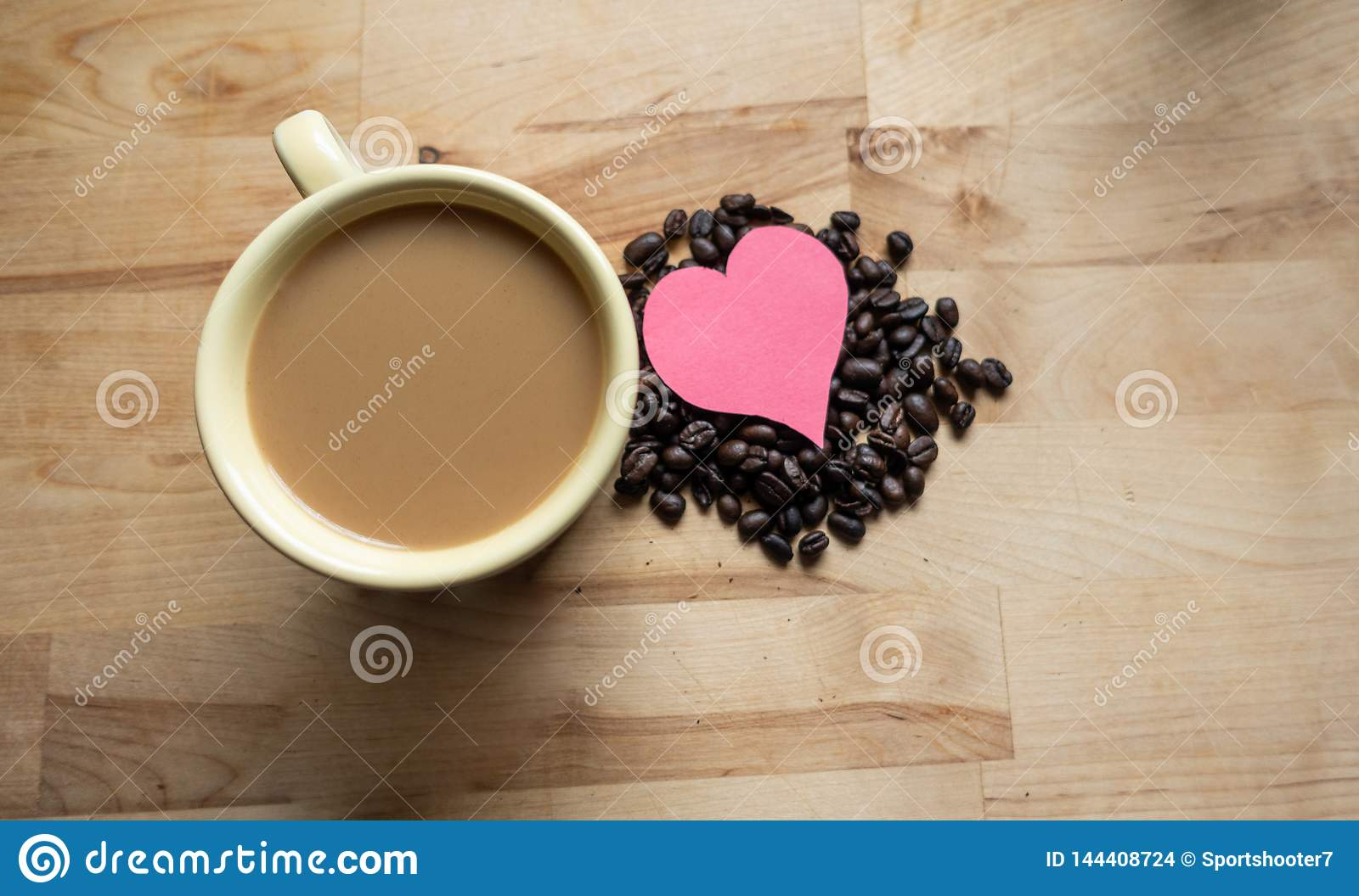 Hearts and coffee together