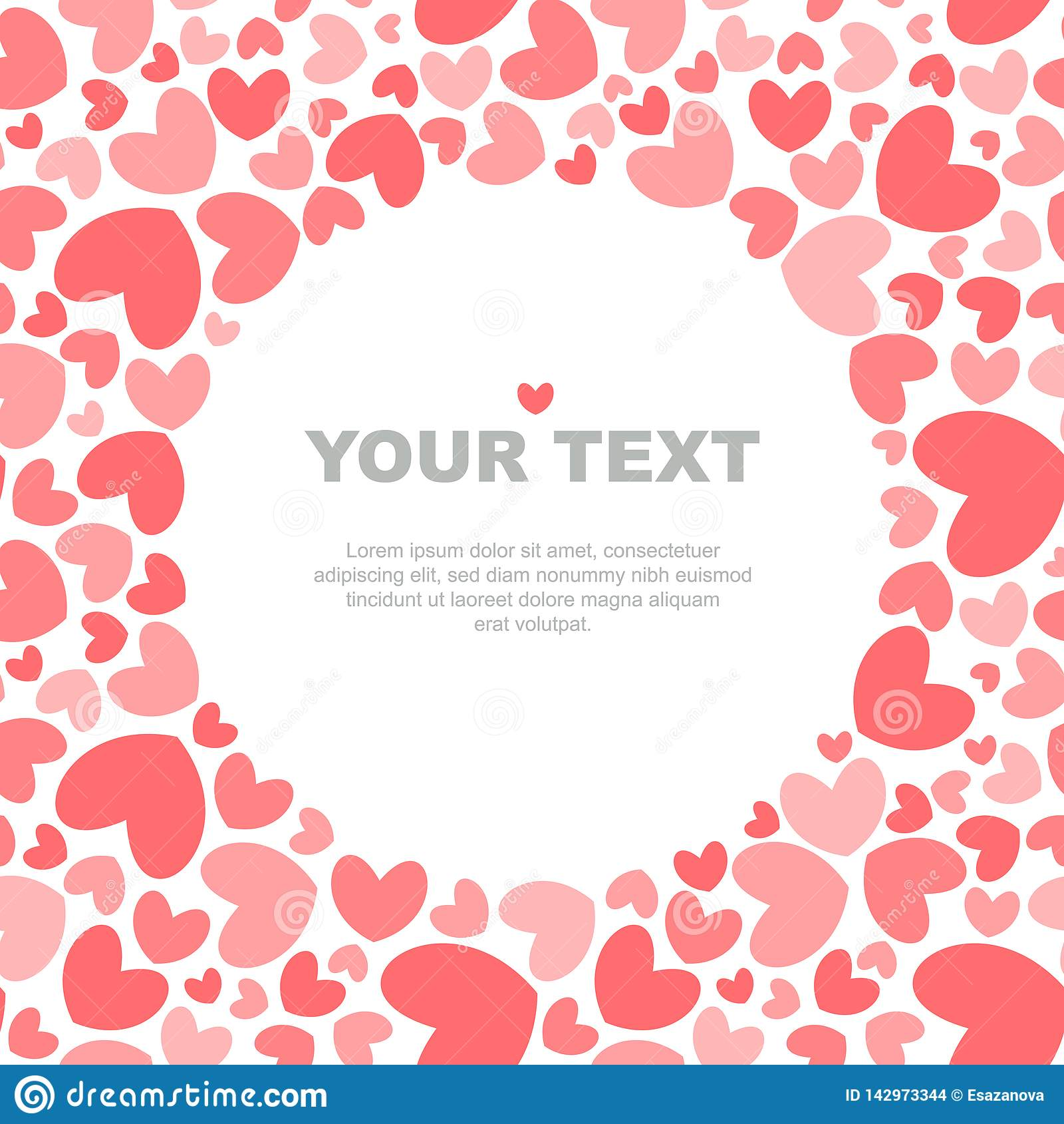 Coral hearts card template