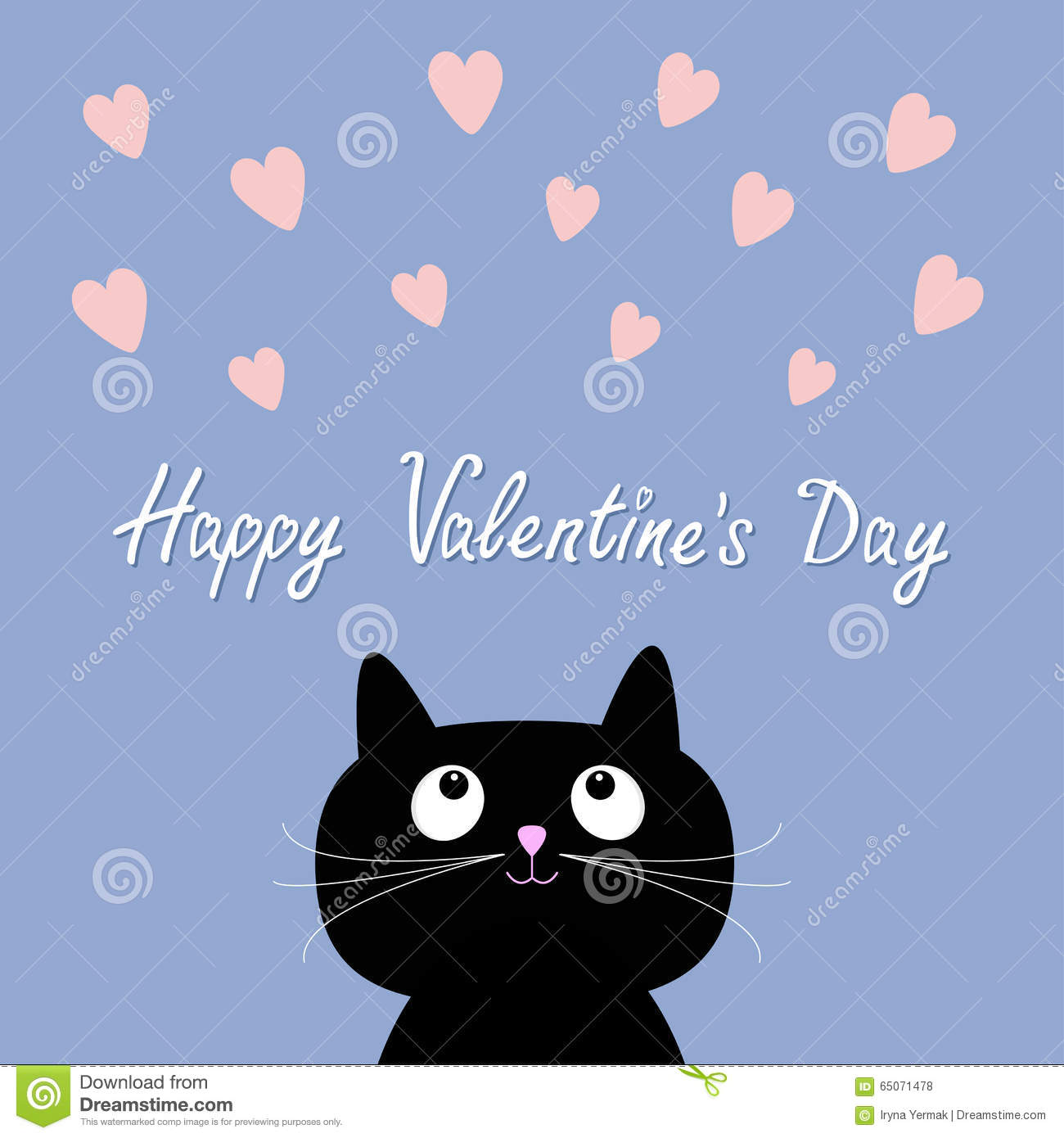 Hearts And Cute Cartoon Cat Flat Design Style Happy Valentines Day