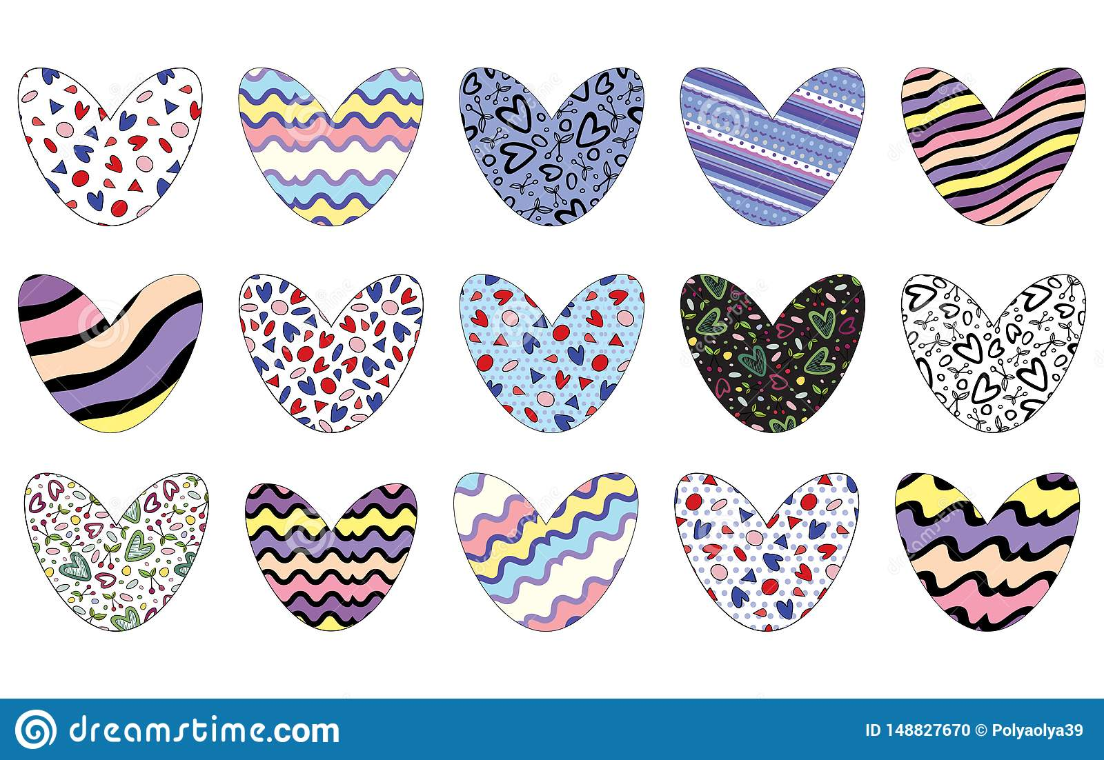Hearts decorated in varios patterns with editable stroke isolated on white background. Vector illustration.