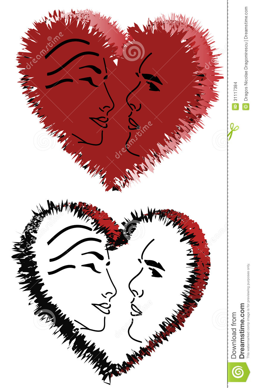 Hearts And Faces Stock Vector Illustration Of Symbol 31117384