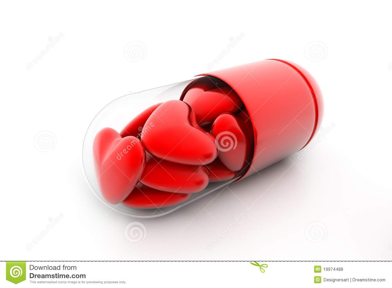 Hearts filled in pill