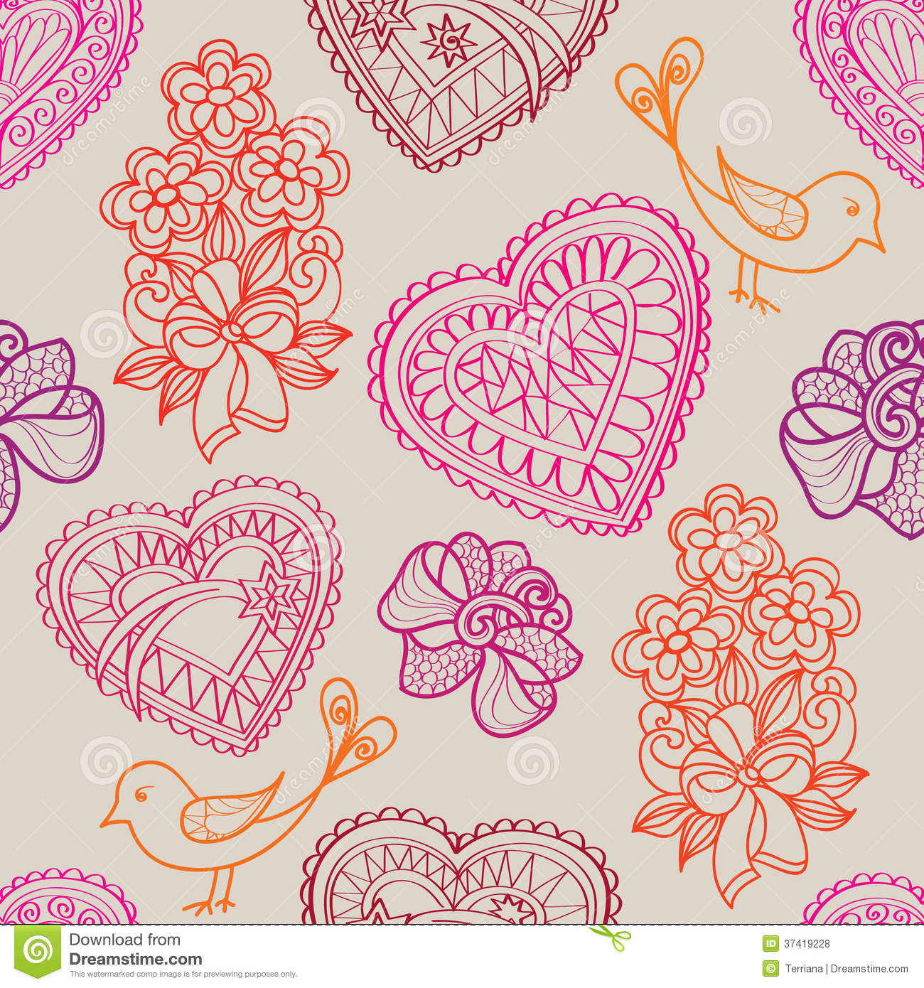 Hearts Flowers And Birds Seamless Background. Love Retro Texture ...