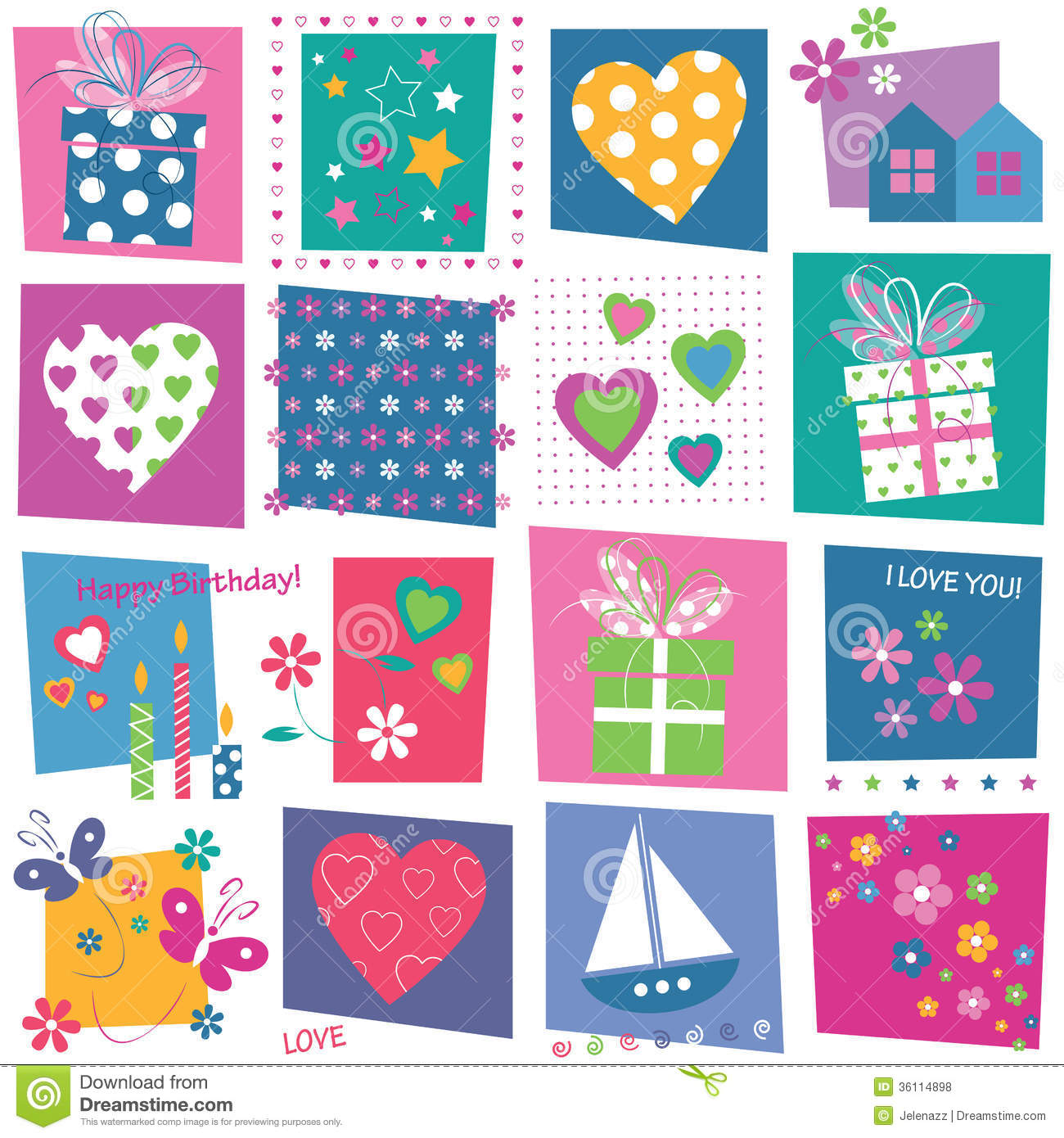 Hearts Flowers And Birthday Gifts Background Royalty Free