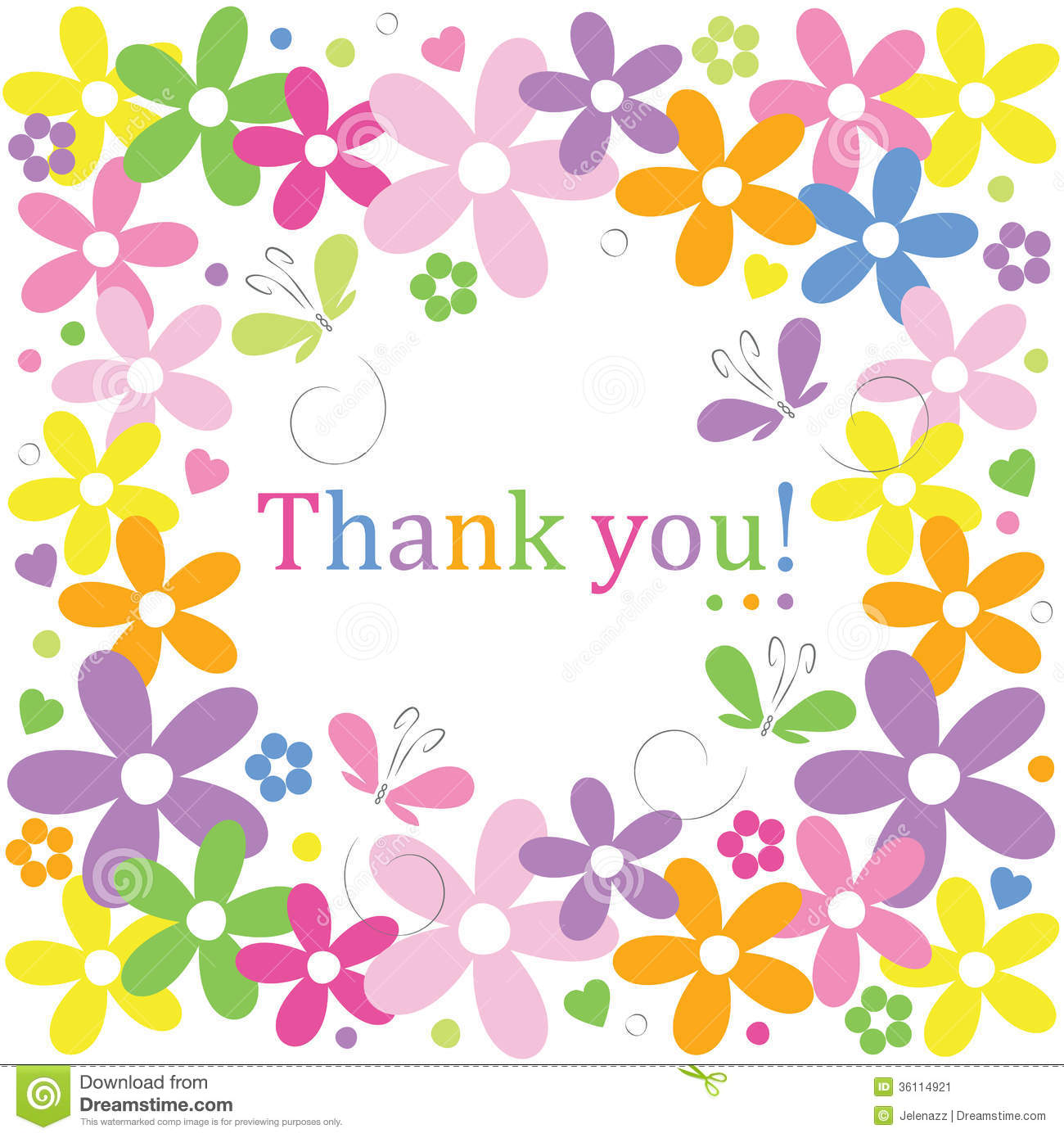 Hearts Flowers And Butterflies Thank You Card Stock Vector