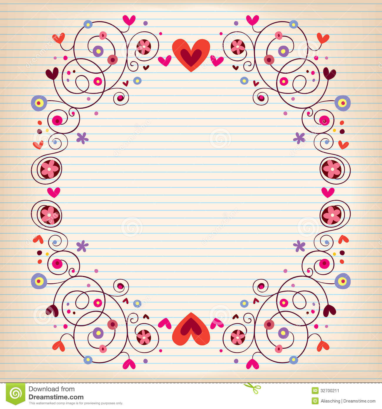 hearts and flowers frame on lined note book paper stock vector