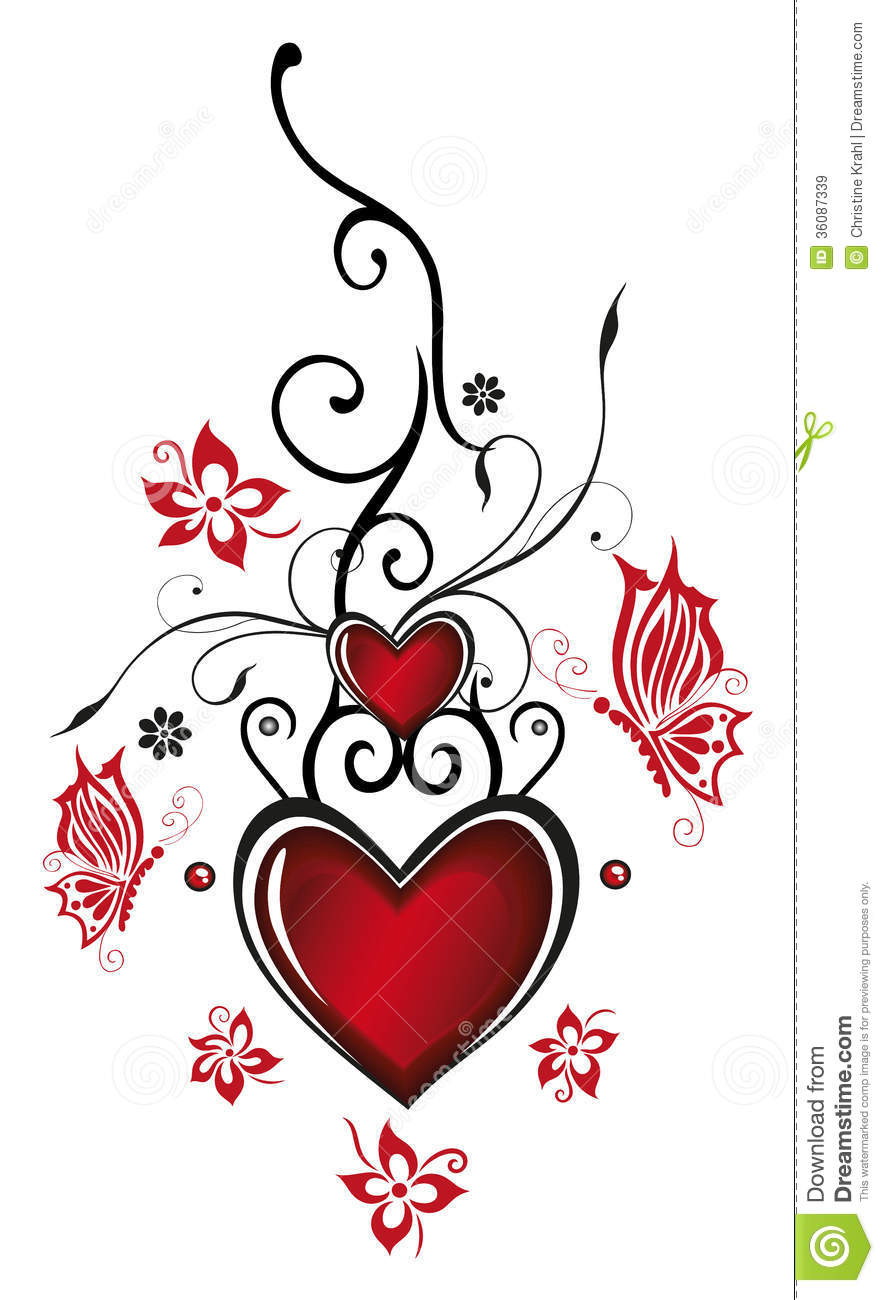 This is an image of Bright Drawing Of Hearts And Flowers