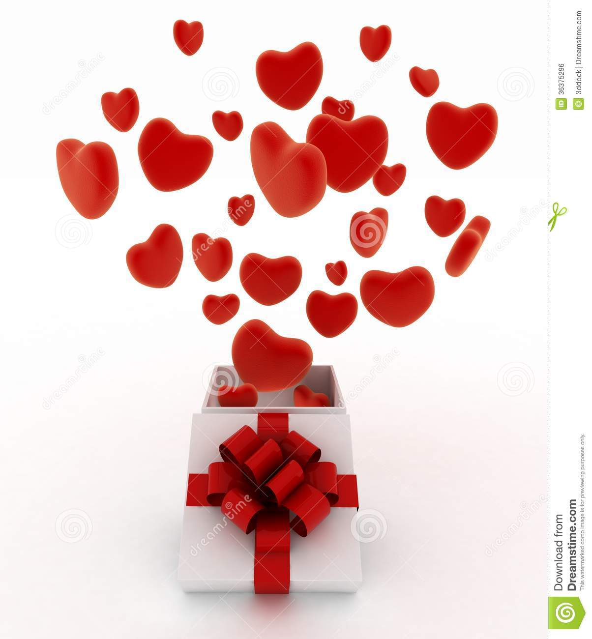 Hearts Flying Out Of Gift Box Stock Illustration