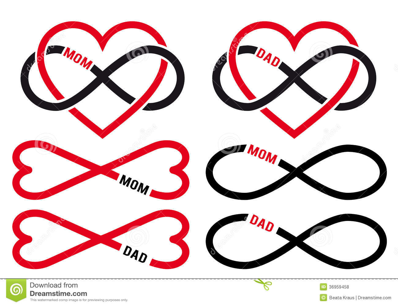 Hearts with infinity sign for mom dad vector set stock vector hearts with infinity sign for mom dad vector set buycottarizona Gallery