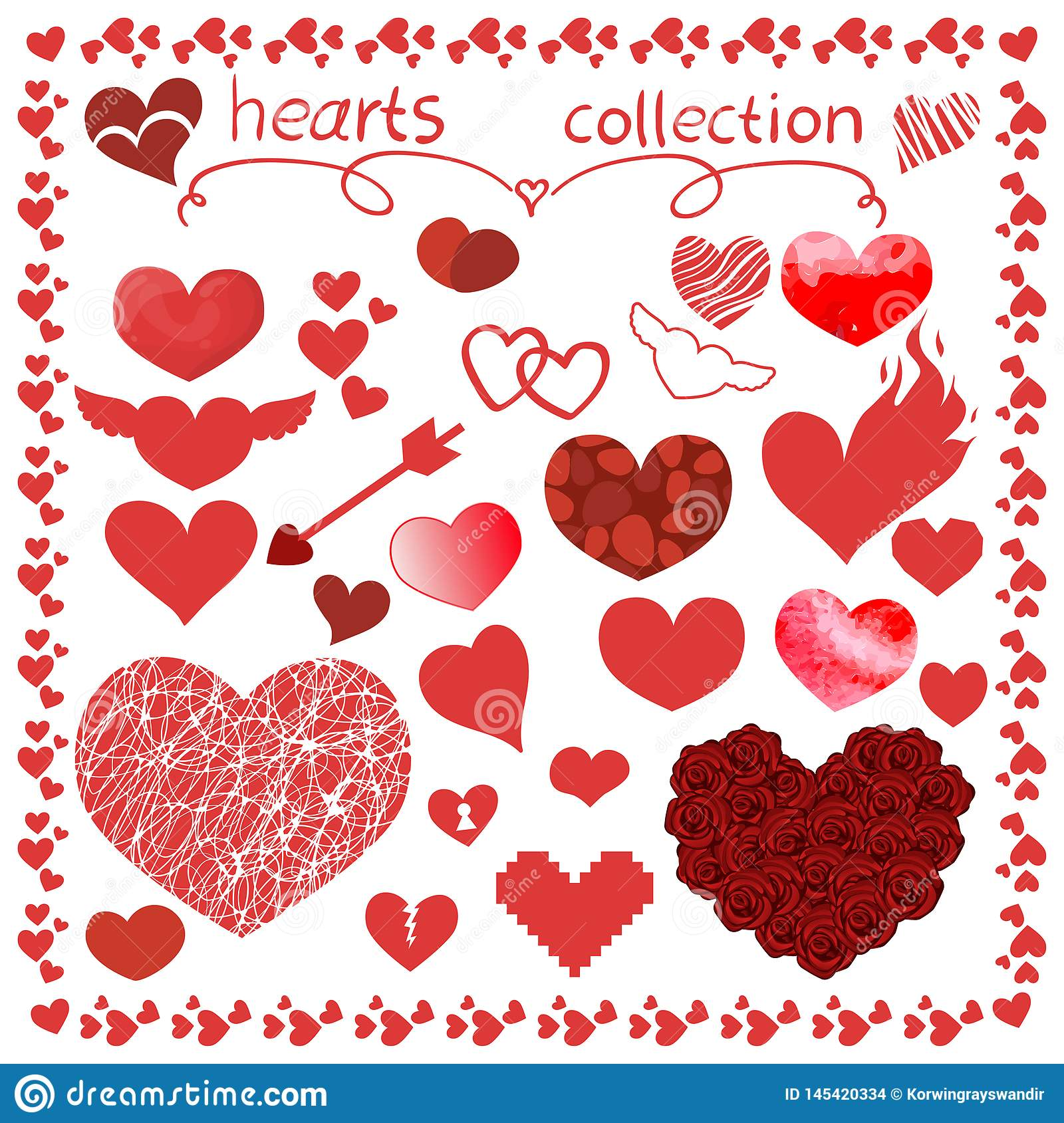 Hearts items vector design set for everything
