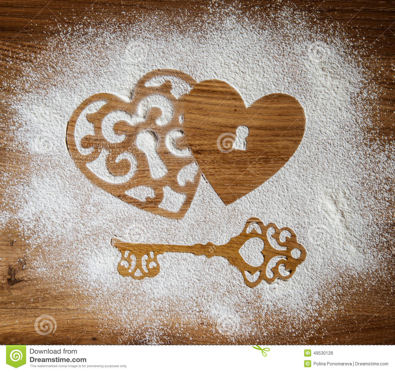 Hearts and a key of the flour as a symbol of love on wooden hearts and a key of the flour as a symbol of love on wooden background valentines day background vintage retro card biocorpaavc Images