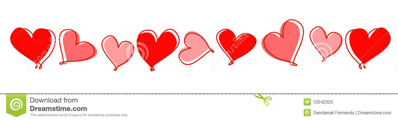 Red hearts divider / line for wedding , valentines day related designs ...