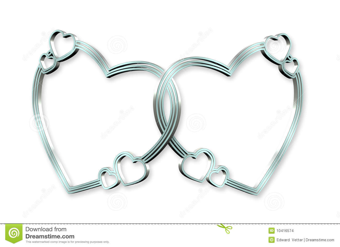 3Dimensional linked silver hearts clip art or design element on white ...